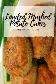 This Loaded Mashed Potatoes Cakes Recipe is a taste sensation. Packed with bacon, cheese and onions, there's a reason they are so popular. Mashed Potato Cakes, Loaded Mashed Potatoes, Mashed Potato Recipes, Savoury Recipes, Quiche Recipes, Peanut Butter Bread, Brulee Recipe, Cabbage Rolls Recipe, Cook N