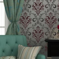 Wall Stencil Pattern Damask Allover Reusable Carol for Wall Decor and More i like the color scheme! Damask Wall Stencils, Wall Stencil Patterns, Stencil Fabric, Stenciling, Cutting Edge Stencils, Diy Wall Decor, Home Decor, Vinyl Wall Stickers, Tool Design