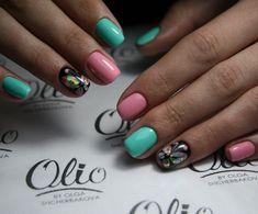 Beautiful summer nails, Butterflies on short nails, Butterfly nails, July nails, Pink and turquoise nails, Summer butterfly nails, Summer nail art , Summer nails 2017