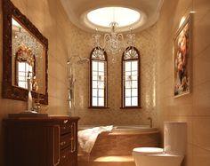 luxury bathrooms with archways | European style villa luxury bathroom interior design rendering | 3D ...