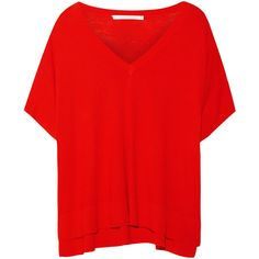 Diane von Furstenberg Honey silk and cashmere-blend sweater ($295) ❤ liked on Polyvore featuring tops, sweaters, shirts, red, short sleeve shirts, red poncho, red short sleeve shirt, red top, red silk shirt and deep v neck shirt