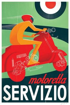 """""""Motoretta Servizio"""" Graphic/Illustration by Textbook Example posters, art prints, canvas prints, greeting cards or gallery prints. Find more Graphic/Illustration art prints and posters in the ARTF. Vintage Advertising Posters, Vintage Advertisements, Vintage Ads, Vintage Posters, Vintage Graphic, Vintage Italian, Club Poster, Poster Ads, Poster Prints"""