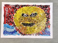 Maui slows the sun. Maori legend by Nina aged 10. Collage from magazines, black permanent marker for details.