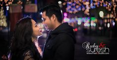 Winter, lights and couple make a perfect romantic photograph...