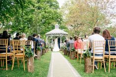 Outdoor wedding ceremony - aisle decorations - Natural Stylish Summer Tea Party Wedding http://www.clarewestphotography.com/