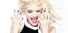 Gwen Stefani's fuchsia and black nails; Article is HAPPI's 50 Years of Nail Polish (Article is targeted to industry, not general public)