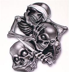 Hear See Speak No evil Skulls Decal Sticker Available in 3 Sizes  #Skulls