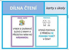 Soubor obsahuje 99 kartiček, které lze využít jako námětovník pro úkoly k dílně čtení. Mnohé z nich... English Classroom, Games For Kids, Montessori, Language, Author, Teaching, Activities, Education, School