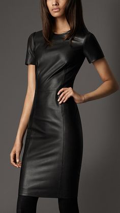 $1,495 Burberry  fitted leather dress with structured panelling