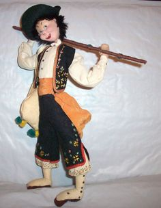 "SOLD VINTAGE 11"" HAND MADE KLUMPE DOLL W/CIGAR,1950s, CLOTH & FELT, SPAIN, ALL ORIG."