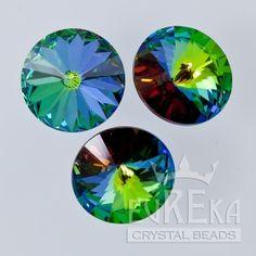 Crystal Green Sphinx 1122 Rivoli 18 mm | Eureka Crystal Beads  Custom Coatings on Swarovski Crystal are aftermarket finishes