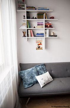 small contemporary apartment by Loko 22- cute bookshelves