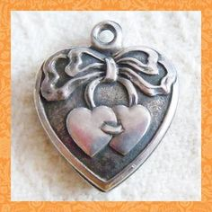 Vintage Sterling Puffy Heart Charm ~ Two Hearts Tied with a Big Bow