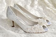 "Low Heel Wedding Shoes - Custom Colors 250 Choices - Vintage Wedding Lace Peep Toe Heels, Women's Bridal Shoes PBP 2.25"" Heels- Pink 2 Blue by Pink2Blue on Etsy https://www.etsy.com/listing/171283322/low-heel-wedding-shoes-custom-colors-250"