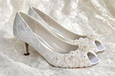"Low Heel Wedding Shoes - Custom Colors 250 Choices - Vintage Wedding Lace Peep Toe Heels, Women's Bridal Shoes PBP 2.25"" Heels- Pink 2 Blue by Pink2Blue on Etsy https://www.etsy.com/listing/171283322/low-heel-wedding-shoes-custom-colors-250"