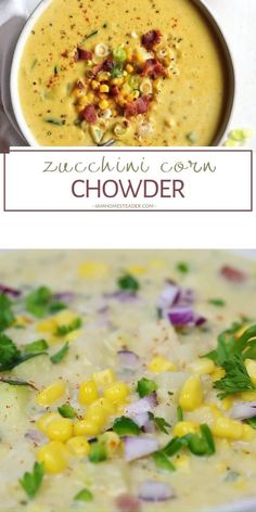 Zucchini Corn Chowder is a healthy comfort food recipe perfect for dinner! It is a creamy and delicious soup filled with garden-fresh corn and zucchini and crispy bacon. Make this vegetable corn chowder for later! Healthy Dinner Recipes, Vegetarian Recipes, Cooking Recipes, Corn Chowder Soup, Vegetarian Corn Chowder, Potato Soup, Baked Potato, Pozole, Healthy Comfort Food