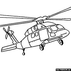 Sikorsky UH 60 Black Hawk Helicopter Coloring Page