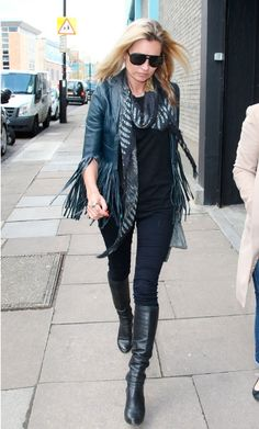 Kate Moss in fringed leather jacket.