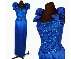 1980s gown Mike Benet dress blue satin and by vintagerunway, $99.00
