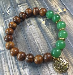 Men Or Women's Jade Ohm Bracelet, Gemstone Bracelet, Beaded Bracelet, Stretch…