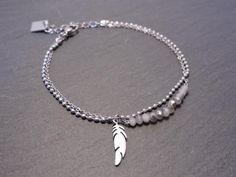 Bracelet ZAG acier blanc cristaux plume