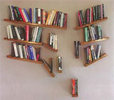 Use slanted boards to create the look of a falling bookshelf.