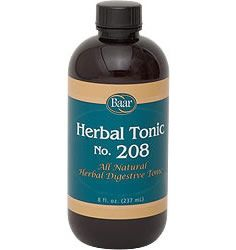 Baar Products Herbal Tonic #208. Calm your intestinal tract with this unique digestive tonic recommended by Edgar Cayce. Similar formulas were suggested many times to restore proper balance between the body's assimilations and eliminations.