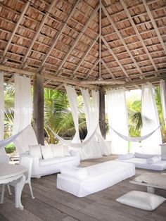 Beach Club, Outdoor Furniture, Outdoor Decor, Hammock, Decoration, Gazebo, Outdoor Structures, Patio, Vacation