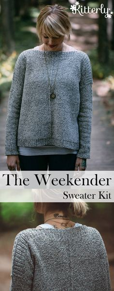 The Weekender sweater kit designed by Andrea Mowry and knit in Brooklyn Tweed Shelter yarn. Knitting Supplies, Knitting Kits, Sweater Knitting Patterns, Knitting Projects, Crochet Quilt, Knit Crochet, Crochet Kits, Brooklyn Tweed, Learn How To Knit