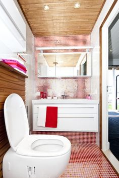 Yay for color! Bathroom Toilets, Laundry In Bathroom, Next At Home, Sweet Home, Loft, Bed, Furniture, Color, Ideas