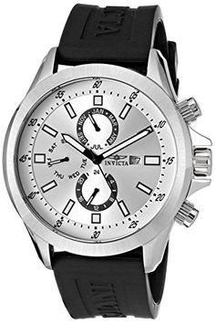 Men's Wrist Watches - Invicta Mens 1836 Specialty SilverTone Dial Black Polyurethane Watch *** Click on the image for additional details. (This is an Amazon affiliate link)