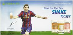 Herbalife (1/2) - Source: Lionel Messi. Source Type: Indirect. Attribute: Power. Messi is arguably the best soccer player in the world. The ad is suggesting he drinks Herbalife for energy, and that Herbalife is largely responsible for his successes on the field. This ad is sending a message to consumers that if they drink Herbalife, they will be able to perform like Messi.