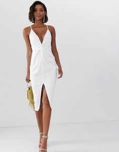 eba984a24b2 DESIGN midi strappy cami dress with knot front plunge in satin