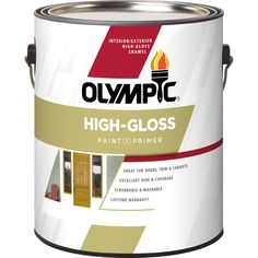 Olympic Ultra White/Base 1 High Gloss Acrylic Enamel Interior/Exterior  Paint And Primer In One Paint (Actual Net Contents: Oz)
