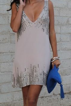 V tank sequin dress