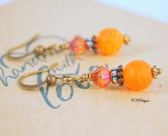 Fire Agate Earrings Dragons Vein Agate Earrings by CKDesignsUS