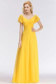 0fdf1b2b3e8 Chicloth Yellow Simple Short-Sleeve Cheap Floor-length Bridesmaid Dress  Simple Short Sleeve Wedding