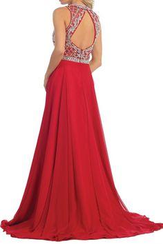 Flowy Jeweled Chiffon Skirt Long Prom Dress