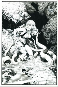 brudesworld:  The incredible talent of Mark Schultz. Pulp Girl #1, from the Jim Reid collection. http://www.comicartfans.com/