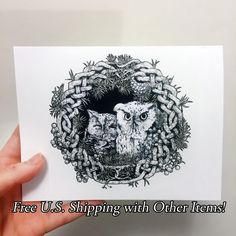 New to Atramentaria on Etsy: One (1) Original Screech Owl Art Greeting Card - Celtic Knot Wreath Cute Owl Illustration Blank Greeting Card - Black and White Ink Drawing (2.50 USD)