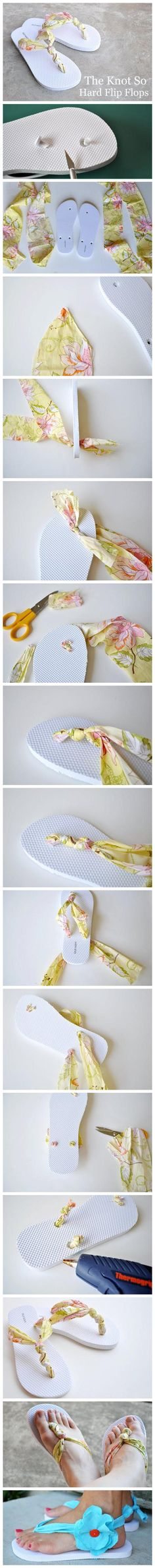 Change out flip flop straps for fabric.
