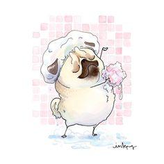 Bath Pugs: Singer - cute shower pug art print for bathroom decor, funny black pug bathroom art, pug singing in the shower by Inkpug Pug Kawaii, Brindle Pug, Pug Illustration, Pug Cartoon, Artwork Prints, Fine Art Prints, Black Pug Puppies, Cute Pugs, Funny Pugs