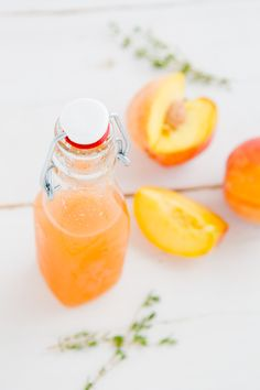 Peach Thyme Syrup - great for adding into cocktails (or just sparkling water). Also works as a marinade for chicken or a based for salad dressing.