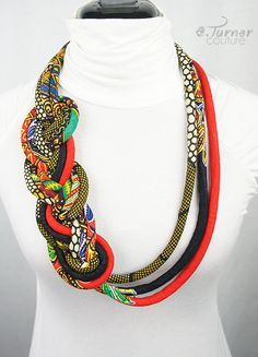 www.cewax.fr aime ce collier plastron multi rang style ethnique tendance tribale tissu africain wax  Long Tribal African Necklace - Ethnic Braided Necklace - African Colors Necklace - African Flag Necklace - red, green, blue, yellow & black