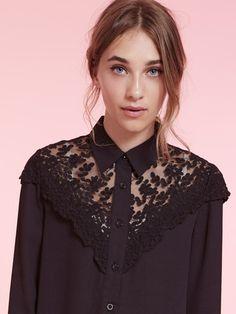 Dahlia Lillie Black Lace Yoke Collar Blouse | Dahlia
