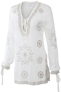 MSRP: $ 69.00 GLAM: $ 39.00 Beautiful Embroidered Pattern on a lightweight 100% Cotton Tunic Top with Tie Neckline and Slit Hem. - 100% Cotton - No Stretch - Drawstring Cuffs - By: MUR* (Also Sold in