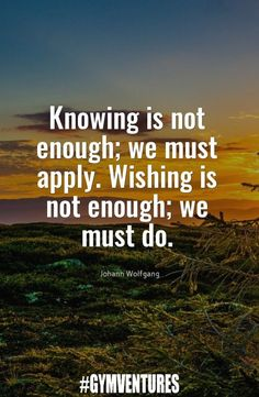 Knowing is not enough; we must apply. Wishing is not enough; we must do.