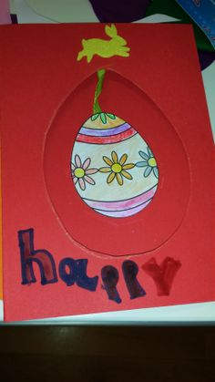 Bright red Easter card.