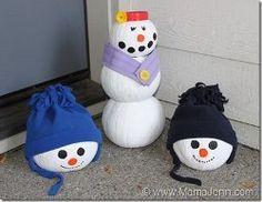 Pumpkin Snowmen | AllFreeChristmasCrafts.com