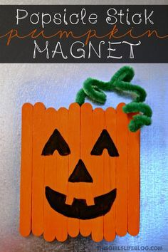 Popsicle Stick Pumpkin Magnet... Fun & easy Halloween craft for kids. A great craft to go along with the Spookley the Square pumpkin book.